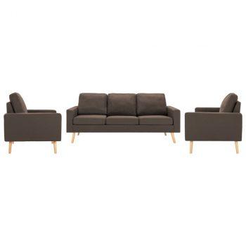 3-dijelni set sofa od tkanine smeđi