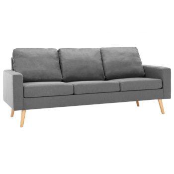 3-dijelni set sofa od tkanine svjetlosivi