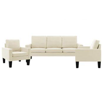 3-dijelni set sofa od umjetne kože krem