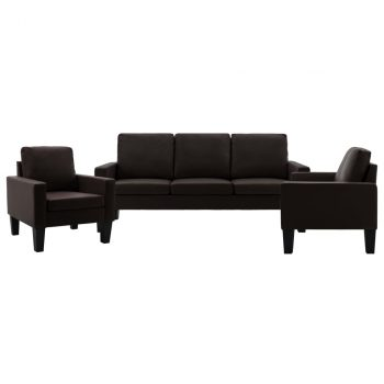 3-dijelni set sofa od umjetne kože smeđi