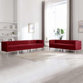 7-dijelni set sofa od tkanine crvena boja vina