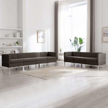 7-dijelni set sofa od tkanine smeđe-sivi