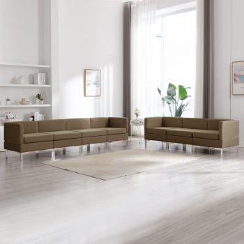 7-dijelni set sofa od tkanine smeđi