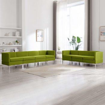 7-dijelni set sofa od tkanine zeleni