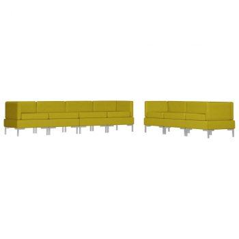 7-dijelni set sofa od tkanine žuti