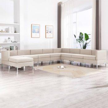 9-dijelni set sofa od tkanine krem