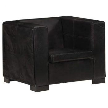 Fotelja od prave kože crna
