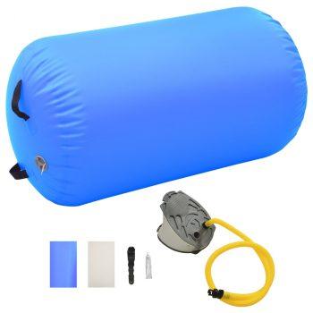 Gimnastički valjak na napuhavanje s crpkom 100x60 cm PVC plavi