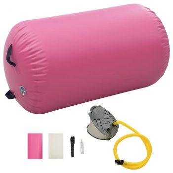 Gimnastički valjak na napuhavanje s crpkom 100x60 cm PVC rozi
