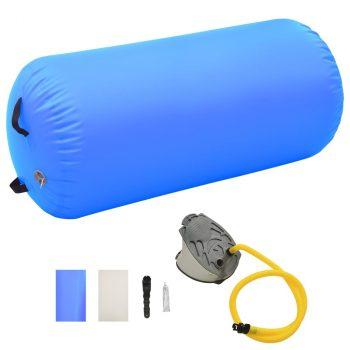 Gimnastički valjak na napuhavanje s crpkom 120x75 cm PVC plavi