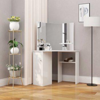 Kutni toaletni stolić za šminkanje bijeli