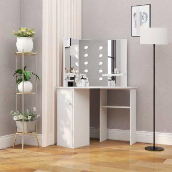 Kutni toaletni stolić za šminkanje s LED svjetlima bijeli