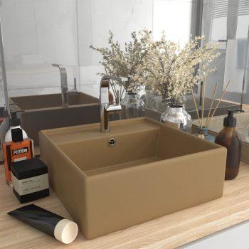 Luksuzni četvrtasti umivaonik mat krem 41 x 41 cm keramički
