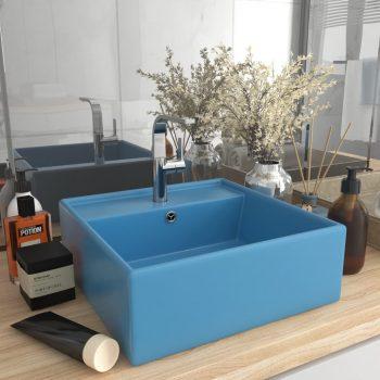 Luksuzni četvrtasti umivaonik mat tamnoplavi 41x41 cm keramički