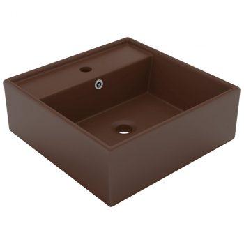 Luksuzni četvrtasti umivaonik mat tamnosmeđi 41x41 cm keramički