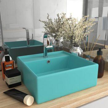 Luksuzni četvrtasti umivaonik mat zeleni 41 x 41 cm keramički