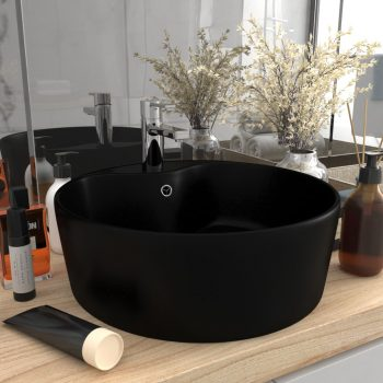 Luksuzni umivaonik mat crni 36 x 13 cm keramički