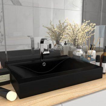 Luksuzni umivaonik mat crni 60 x 46 cm keramički