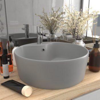 Luksuzni umivaonik mat svjetlosivi 36 x 13 cm keramički