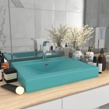 Luksuzni umivaonik mat svjetlozeleni 60 x 46 cm keramički