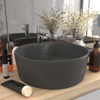 Luksuzni umivaonik mat tamnosivi 36 x 13 cm keramički