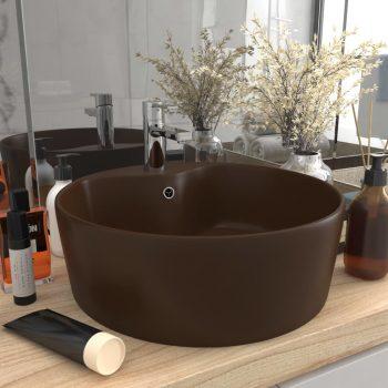 Luksuzni umivaonik mat tamnosmeđi 36 x 13 cm keramički
