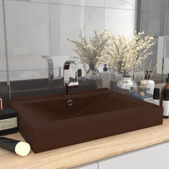 Luksuzni umivaonik mat tamnosmeđi 60 x 46 cm keramički
