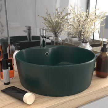 Luksuzni umivaonik mat tamnozeleni 36 x 13 cm keramički