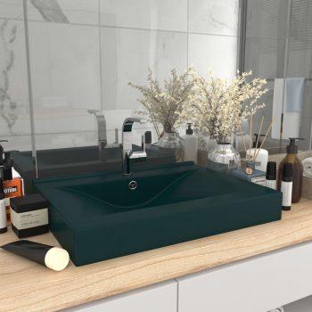 Luksuzni umivaonik mat tamnozeleni 60 x 46 cm keramički