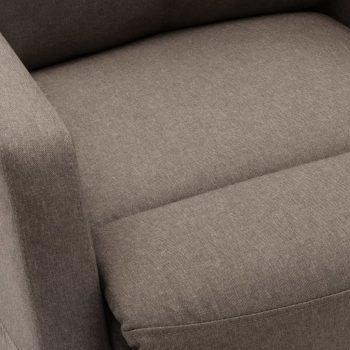 Masažni naslonjač na podizanje od tkanine smeđe-sivi