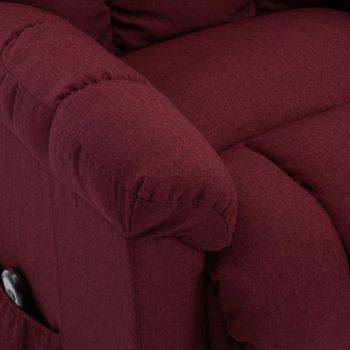 Naslonjač na podizanje od tkanine crvena boja vina