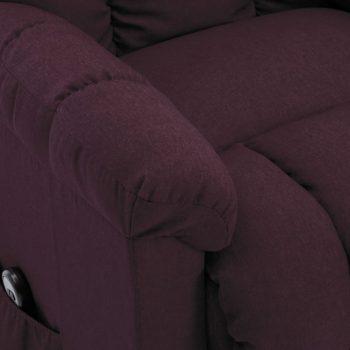 Naslonjač na podizanje od tkanine ljubičasti