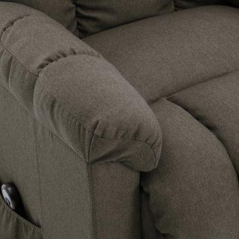 Naslonjač na podizanje od tkanine smeđe-sivi