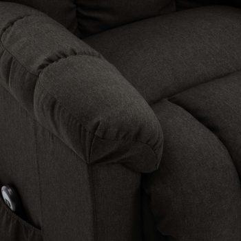 Naslonjač na podizanje od tkanine tamnosmeđi