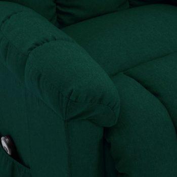 Naslonjač na podizanje od tkanine tamnozeleni