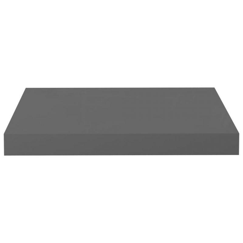 Plutajuća zidna polica visoki sjaj siva 40 x 23 x 3