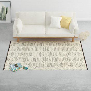 Ručno tkani tepih od vune 120 x 170 cm bijelo-crni