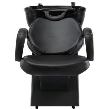 Salonska stolica za pranje kose s umivaonikom crna umjetna koža