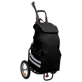 Sklopiva prikolica za bicikl s torbom za namirnice crna