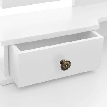 Toaletni stolić sa stolcem bijeli 100x40x146 cm drvo paulovnije