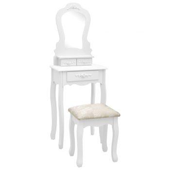 Toaletni stolić sa stolcem bijeli 50x59x136 cm drvo paulovnije