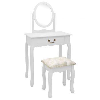 Toaletni stolić sa stolcem bijeli 65x36x128 cm paulovnija i MDF