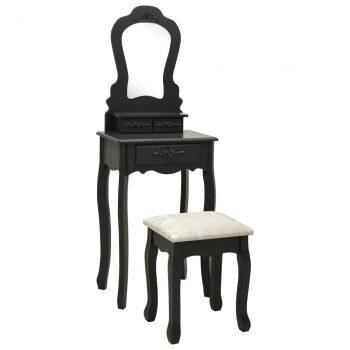 Toaletni stolić sa stolcem crni 50x59x136 cm drvo paulovnije