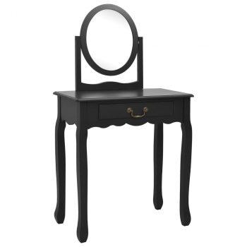 Toaletni stolić sa stolcem crni 65x36x128 cm paulovnija i MDF