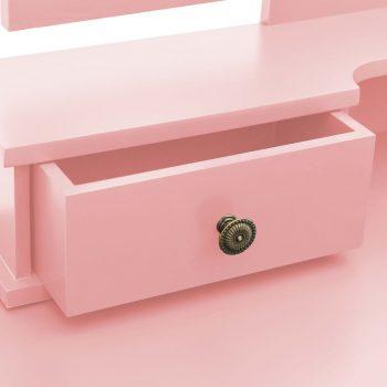 Toaletni stolić sa stolcem rozi 100x40x146 cm drvo paulovnije
