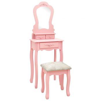 Toaletni stolić sa stolcem rozi 50x59x136 cm drvo paulovnije