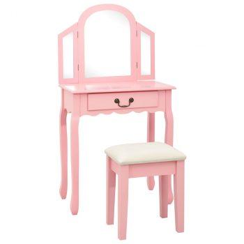 Toaletni stolić sa stolcem rozi 65x36x128 cm paulovnija i MDF
