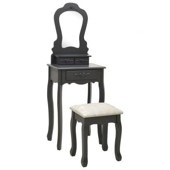 Toaletni stolić sa stolcem sivi 50x59x136 cm od drva paulovnije