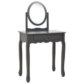 Toaletni stolić sa stolcem sivi 65x36x128 cm paulovnija i MDF