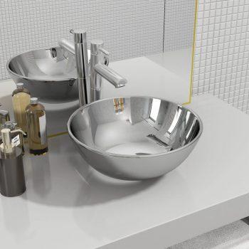 Umivaonik 28 x 10 cm keramički srebrni